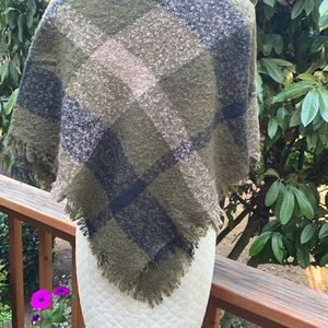 Olive Green and Black Plaid Wrap NEW
